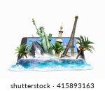 concept of travel  landmarks... | Shutterstock . vector #415893163