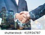 double exposure of handshake... | Shutterstock . vector #415926787