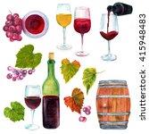 A Watercolor Wine Set  A...