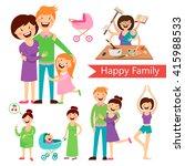 set of happy family   pregnancy ... | Shutterstock .eps vector #415988533