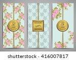 set of brochures with vintage... | Shutterstock .eps vector #416007817