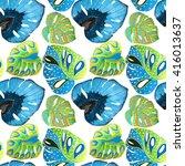 tropical leaves | Shutterstock . vector #416013637