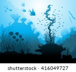 ocean underwater world with...