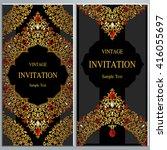 wedding invitation or card with ... | Shutterstock .eps vector #416055697