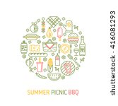 summer picnic and bbq party... | Shutterstock .eps vector #416081293