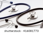 two disassembled stethoscope in ... | Shutterstock . vector #416081773