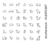 animal icons. vector outline... | Shutterstock .eps vector #416092387