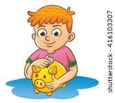 children and piggy bank.eps10... | Shutterstock .eps vector #416103307