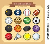 set of 16 isolated sport ball... | Shutterstock .eps vector #416110123