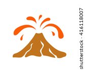 volcano eruption logo  vector...   Shutterstock .eps vector #416118007