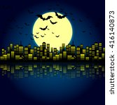 style cartoon night city... | Shutterstock .eps vector #416140873