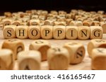 shopping word written on wood... | Shutterstock . vector #416165467