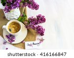 lilac flowers and cup of coffee ... | Shutterstock . vector #416166847