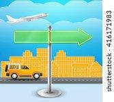 blank glass arrow board. city... | Shutterstock .eps vector #416171983