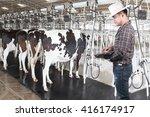 farmer working on laptop... | Shutterstock . vector #416174917