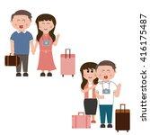 cartoon characters  travel   Shutterstock .eps vector #416175487