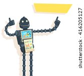 futuristic robot with a thumb... | Shutterstock .eps vector #416205127