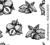 vector hand drawn seamless nuts ... | Shutterstock .eps vector #416213653