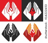 logo. hands protect fire....