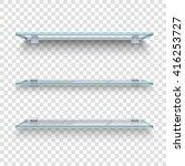 three alike glass shelves on... | Shutterstock .eps vector #416253727