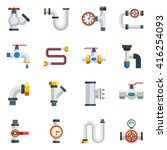 water pipes flat icons set... | Shutterstock .eps vector #416254093