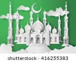 the mosque and the sky at night ... | Shutterstock .eps vector #416255383