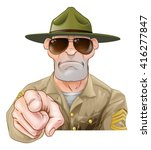 an angry looking cartoon army... | Shutterstock .eps vector #416277847