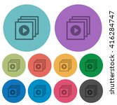 color play files flat icon set...