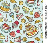 seamless pattern with sweets on ... | Shutterstock .eps vector #416315107