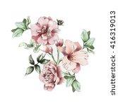watercolor flower blossom | Shutterstock . vector #416319013