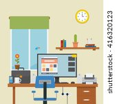 work place in the room with... | Shutterstock .eps vector #416320123