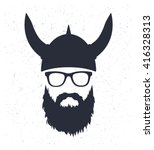 bearded viking with glasses and ... | Shutterstock .eps vector #416328313
