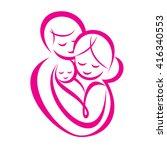 happy family stylized vector... | Shutterstock .eps vector #416340553