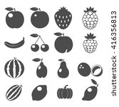 set of fruits icons. flat... | Shutterstock .eps vector #416356813