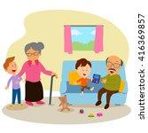 kids with grandparents enjoying ... | Shutterstock .eps vector #416369857