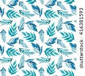 watercolor blue foliage... | Shutterstock . vector #416381593