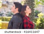 beautiful couple on romantic... | Shutterstock . vector #416411647