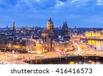 Stock photo aerial view of downtown amsterdam the netherlands during sunset 416416573
