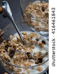 granola with yogurts  nuts and... | Shutterstock . vector #416461843