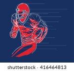american football player logo ... | Shutterstock .eps vector #416464813