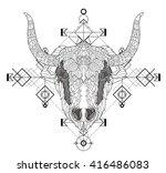 front view of yak head doodle   ... | Shutterstock .eps vector #416486083