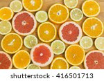 Citrus Fruit Background With...