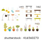 set of lamp  table  and house... | Shutterstock .eps vector #416560273