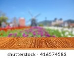 Empty Wooden Table With Blur...