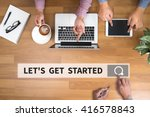 let's get started man touch bar ... | Shutterstock . vector #416578843