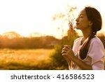 beautiful asia girl stand alone ... | Shutterstock . vector #416586523