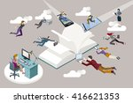 publishing sector staff flying... | Shutterstock .eps vector #416621353