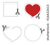 scissors cut out the shape dash ... | Shutterstock .eps vector #416622613