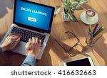 online learning man hand on... | Shutterstock . vector #416632663