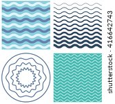 set wave pattern template and... | Shutterstock .eps vector #416642743